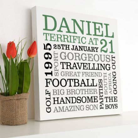Personalised 21st Birthday Typographic Art